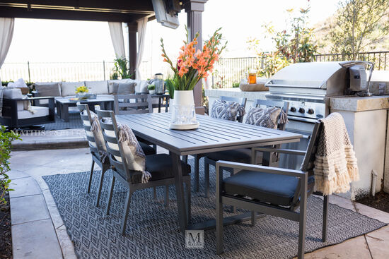 Casual Rectangular Patio Dining Table in Gray