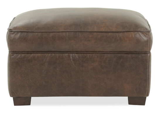 "Casual 31"" Leather Ottoman in Brown"