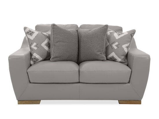 Straight Arm Leather Loveseat in Grey