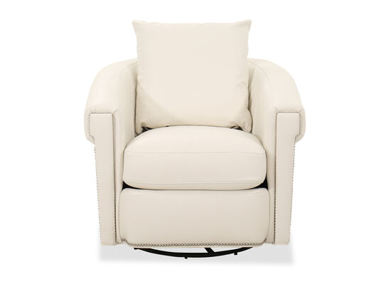 """Transitional Nailhead-Accented 35"""" Swivel Glider Chair in White"""