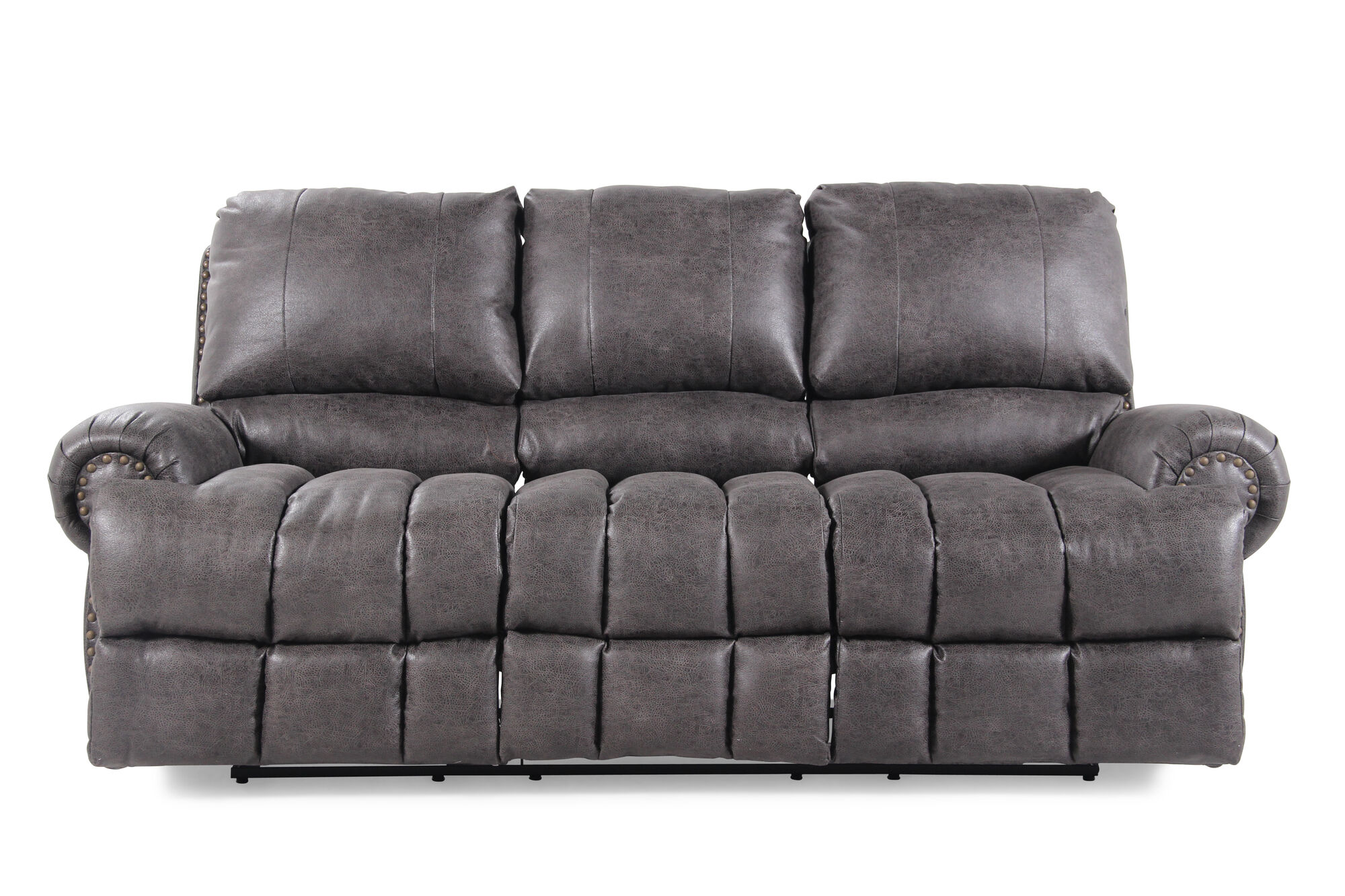 Nailhead Accented 84 Reclining Sofa In Dark Gray Mathis Brothers Furniture