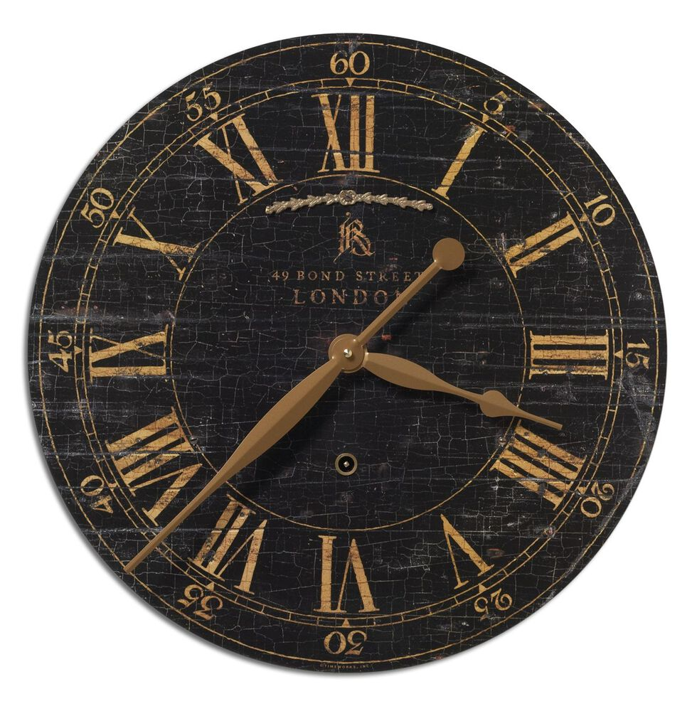 Crackled Roman Numeral Wall Clock in Black