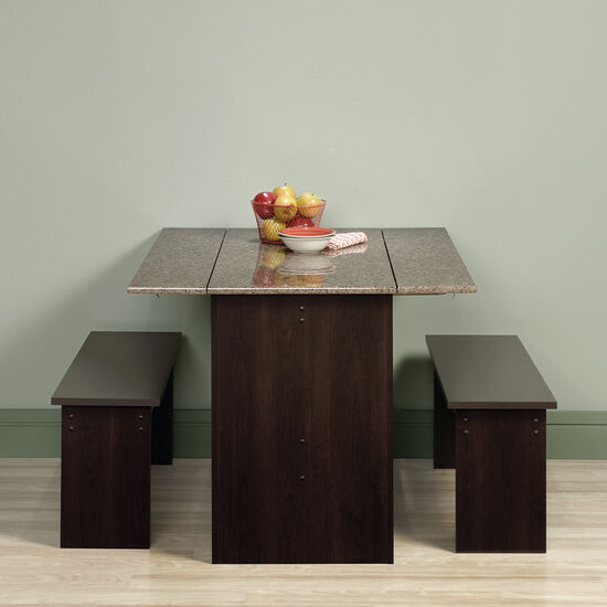 Three-Piece Traditional 47'' Table and Benches Set in Cinnamon Cherry