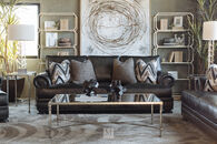 "Bernhardt Leather 98"" Sofa in Mocha"