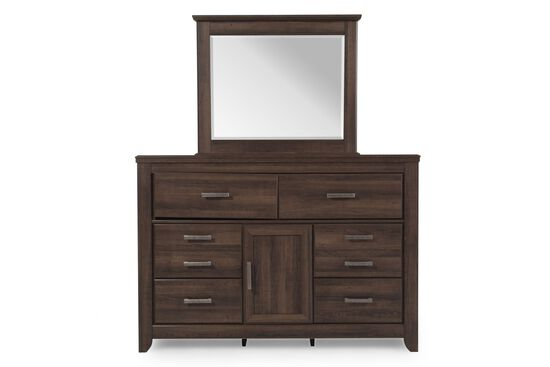 Two-Piece Casual Dresser and Mirror in Aged Dark Brown