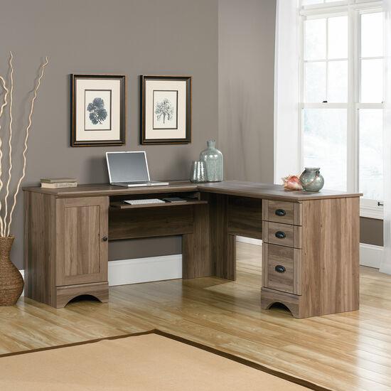 Traditional Three-Drawer Corner Computer Desk in Salt Oak