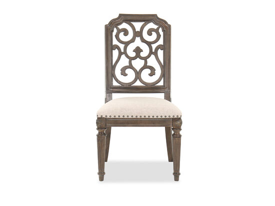 """Traditional 42"""" Fret Back Dining Chair in Beige"""