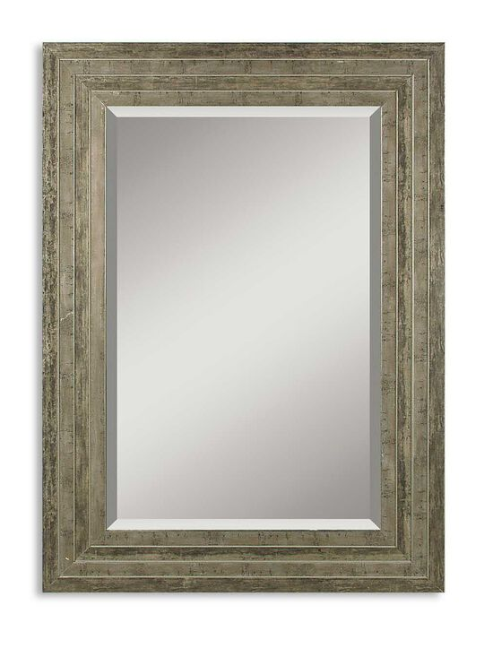 25.5'' Solid Wood Frame Mirror in Light Gray