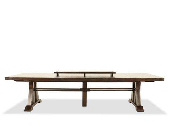"Casual 90"" Extendable Trestle Dining Table in Rustic Walnut"