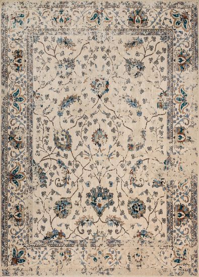 "Contemporary 2'-7""x4' Rug in Ivory/Multi"