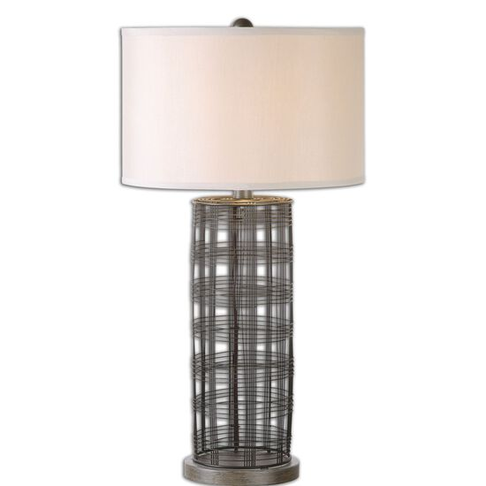 Cylindrical Wire Cage Lamp in Dark Bronze