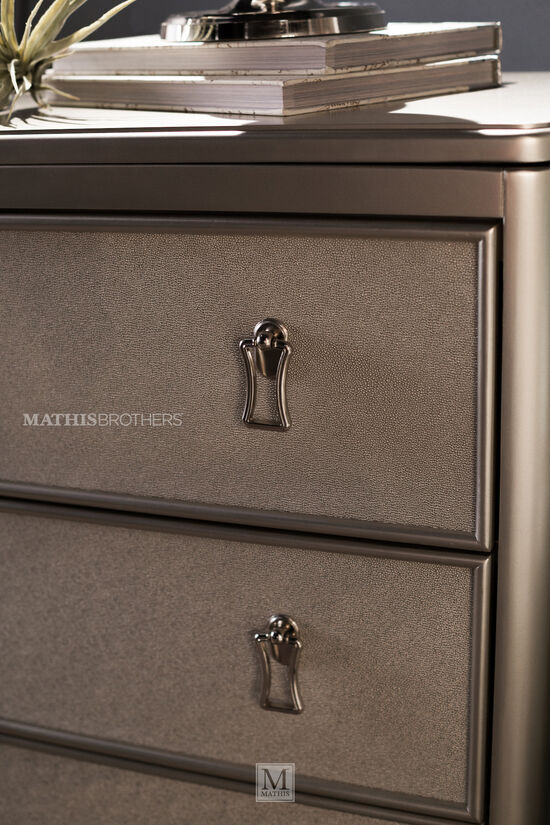 Two-Piece Transitional Molded Dresser and Mirror in Platinum
