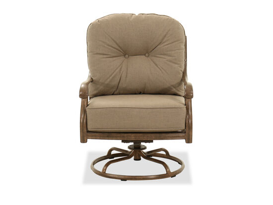 Aluminum Swivel Club Chair in Brown