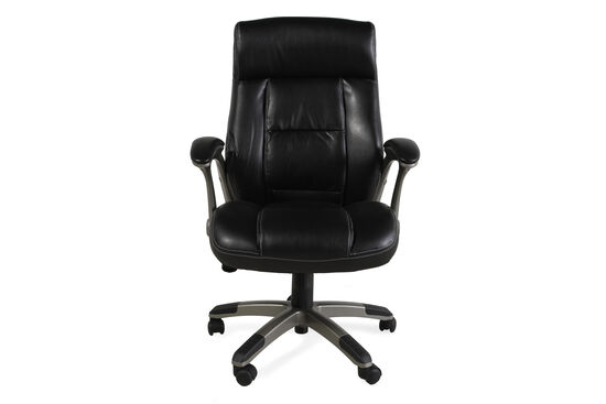 Pleated Leather Swivel Tilt Office Chair in Black