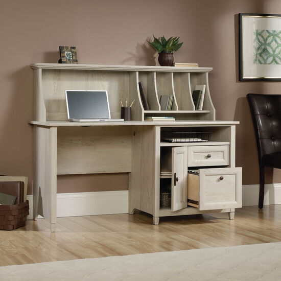 """59"""" Contemporary Computer Desk with Hutch in Chalked Chestnut"""