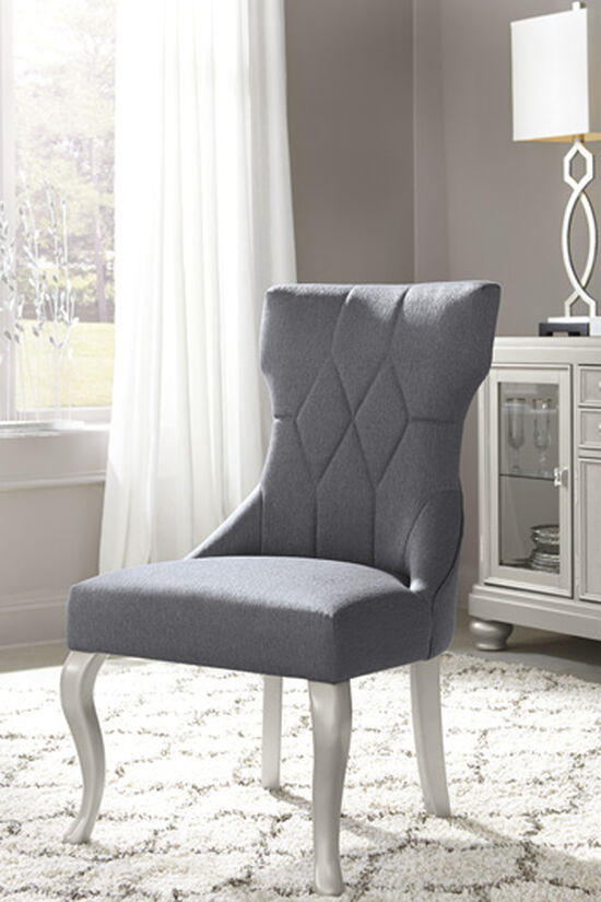 "Diamond Patterned 23"" Upholstered Side Dining Chair in Dark Gray"