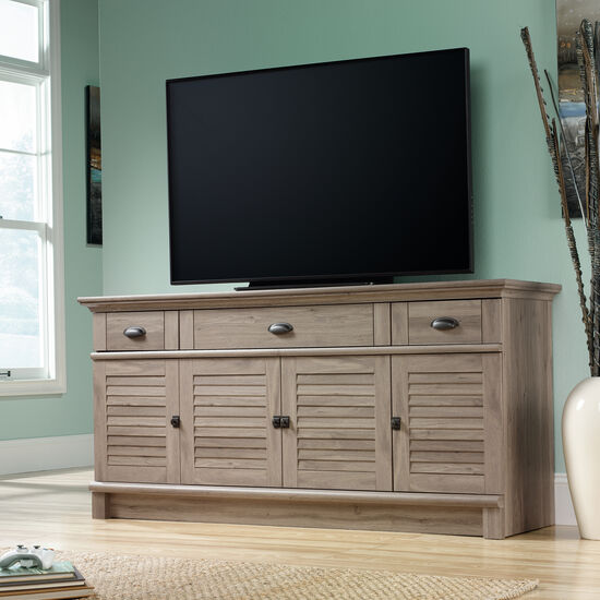 Louver Panel Door Transitional Credenza in Salt Oak