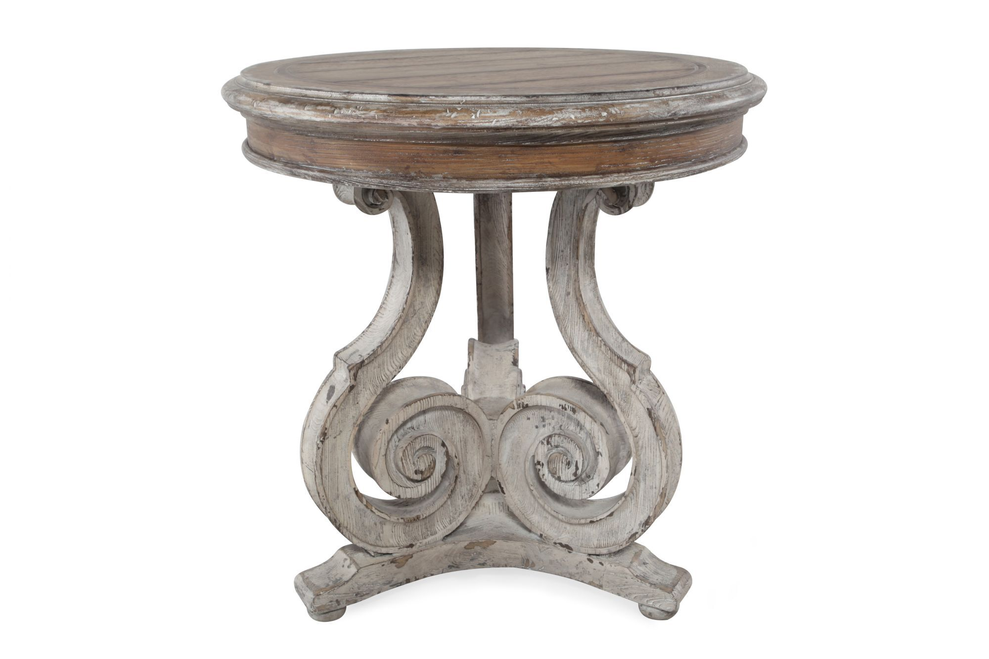 Traditional Scroll Accent Table in Light Wood | Mathis ...