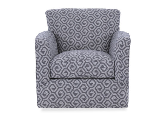 "Geometric Patterned Contemporary 34"" Swivel Chair in Gray"