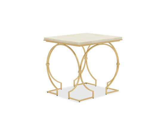 Stone Slab-Top Transitional End Table in Gold