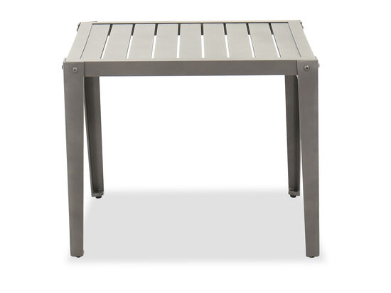 "Slat Top Casual 26"" End Table in Gray"