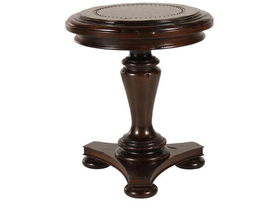 Round Carved Tradtional Chairside Table in Dark Brown