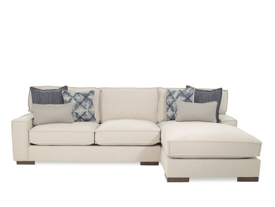 "Two-Piece Bohemian Eclectic 124"" Sectional in Beige"