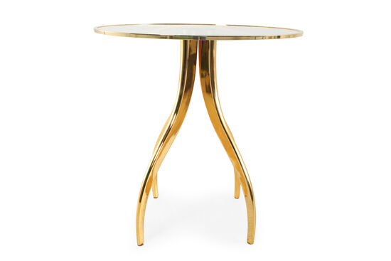 Round Transitional Chairside Table in Brass