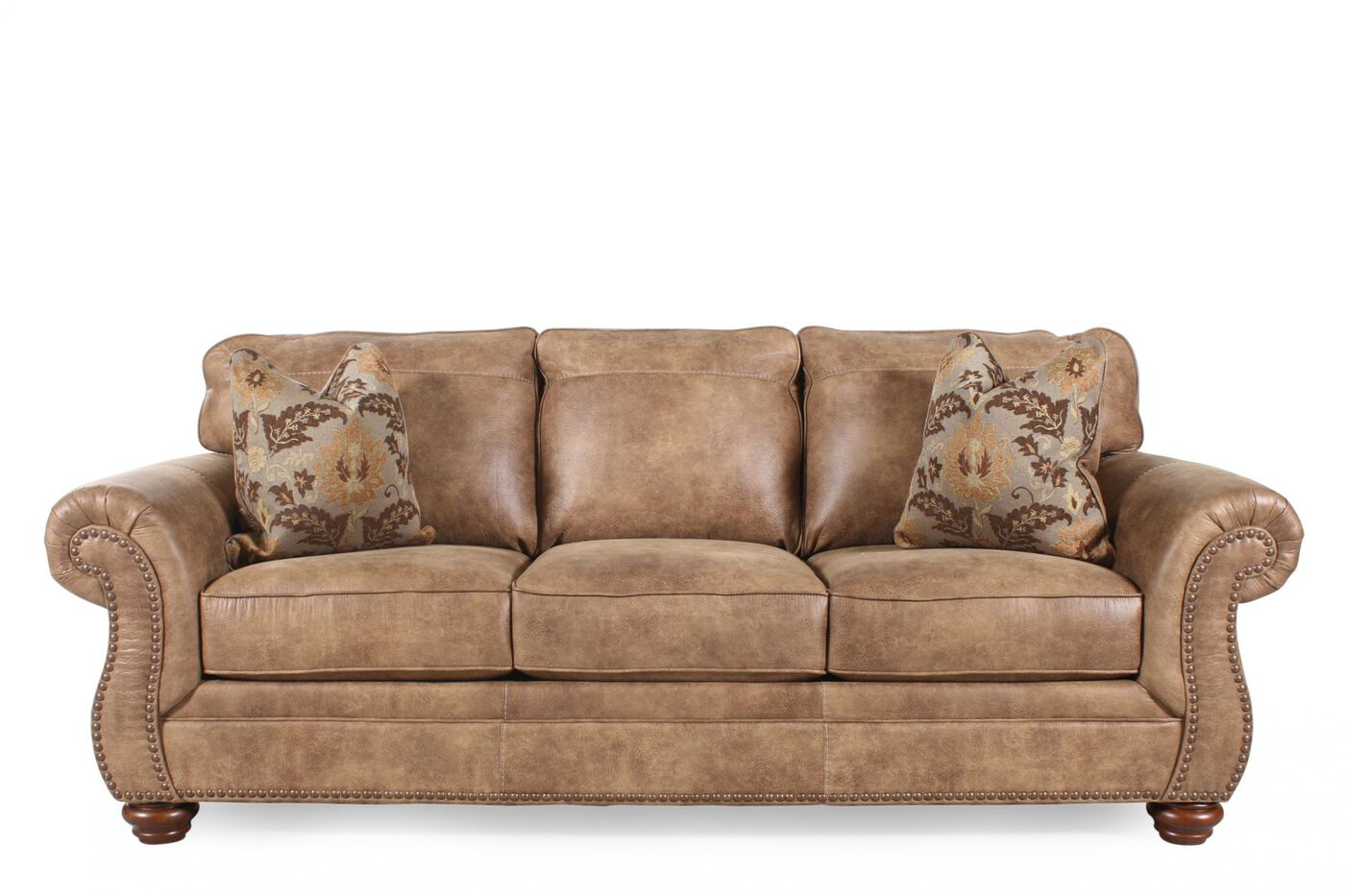 """Traditional Rolled Arm 89"""" Sofa In Southwestern Earth Tone"""
