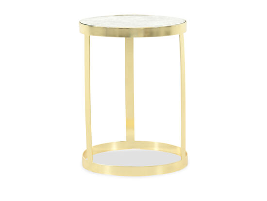 Marble-Top Traditional Accent Table in Gold