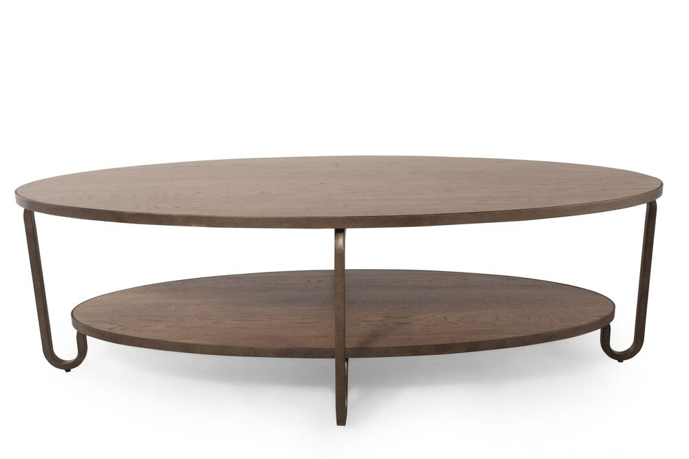 Round Transitional Cocktail Table In Brown Mathis Brothers Furniture