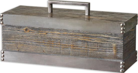 Nailhead Accented Decorative Box in Light Chestnut