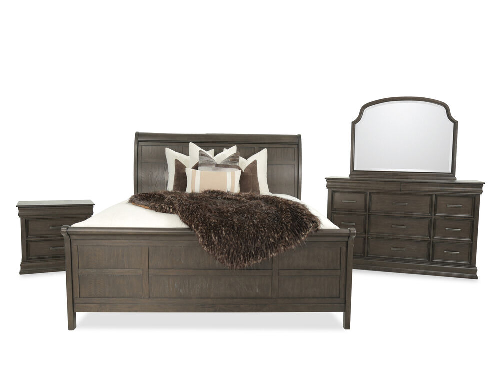 Four Piece Traditional Sleigh Bedroom Set In Cherry Mathis Brothers Furniture