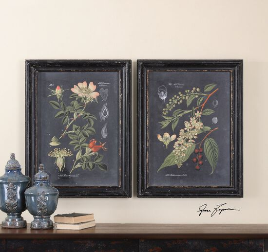 Two-Piece Floral and Leaf Print Framed Wall Art