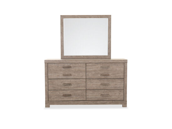Two-Piece Casual Dresser and Mirror Set in Weathered Driftwood