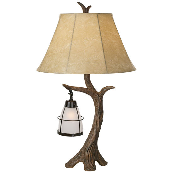 Mountain Wind Table Lamp With Nightlight in Aged Oak Tree