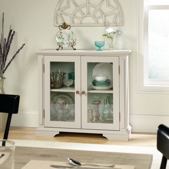 35.5'' Glass Doors Contemporary Display Cabinet in Cobblestone