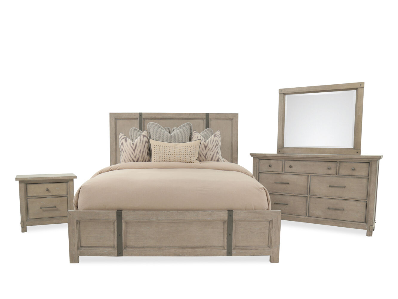 Four-Piece Traditional Bedroom Set in Light Gray | Mathis Brothers ...