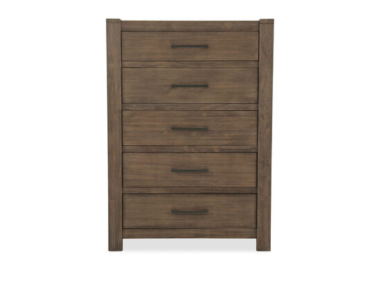"""56"""" Five-Drawer Contemporary Chestin Brown"""