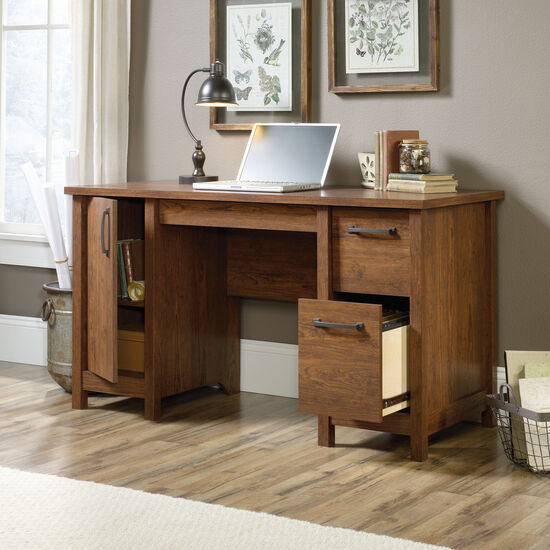 "53"" Contemporary Two-Drawer Computer Desk in Milled Cherry"