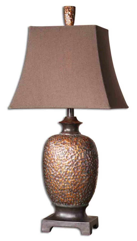 Textured Vase Table Lamp in Bronze Leaf
