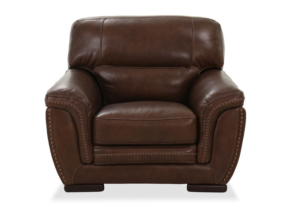 Nailhead-Trimmed Leather Chair in Brown