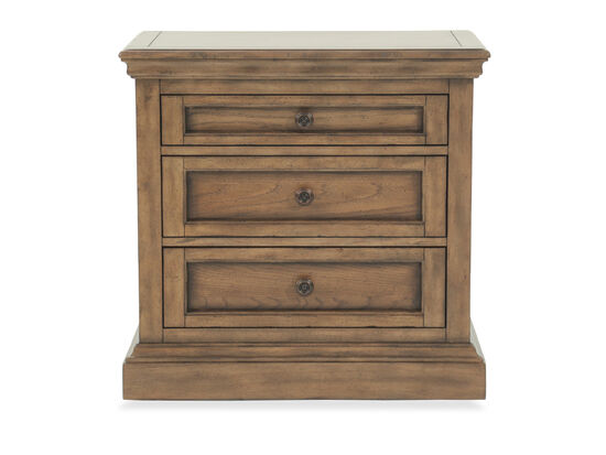 "17"" Transitional Three-Drawer Nightstand in Light Brown"