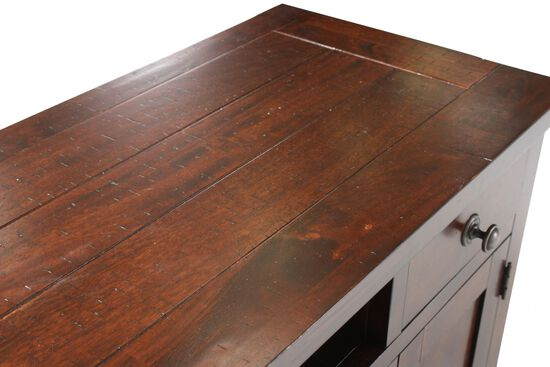 Wood-Framed Glass Contemporary Media Console in Dark Brown