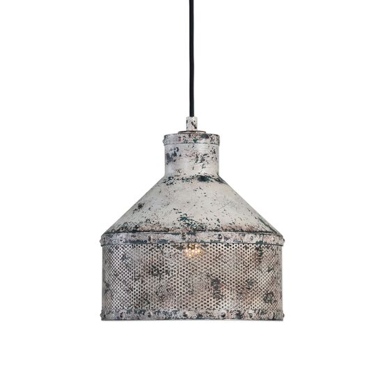 Distressed Oil Can-Shaped Pendant Light in Ivory
