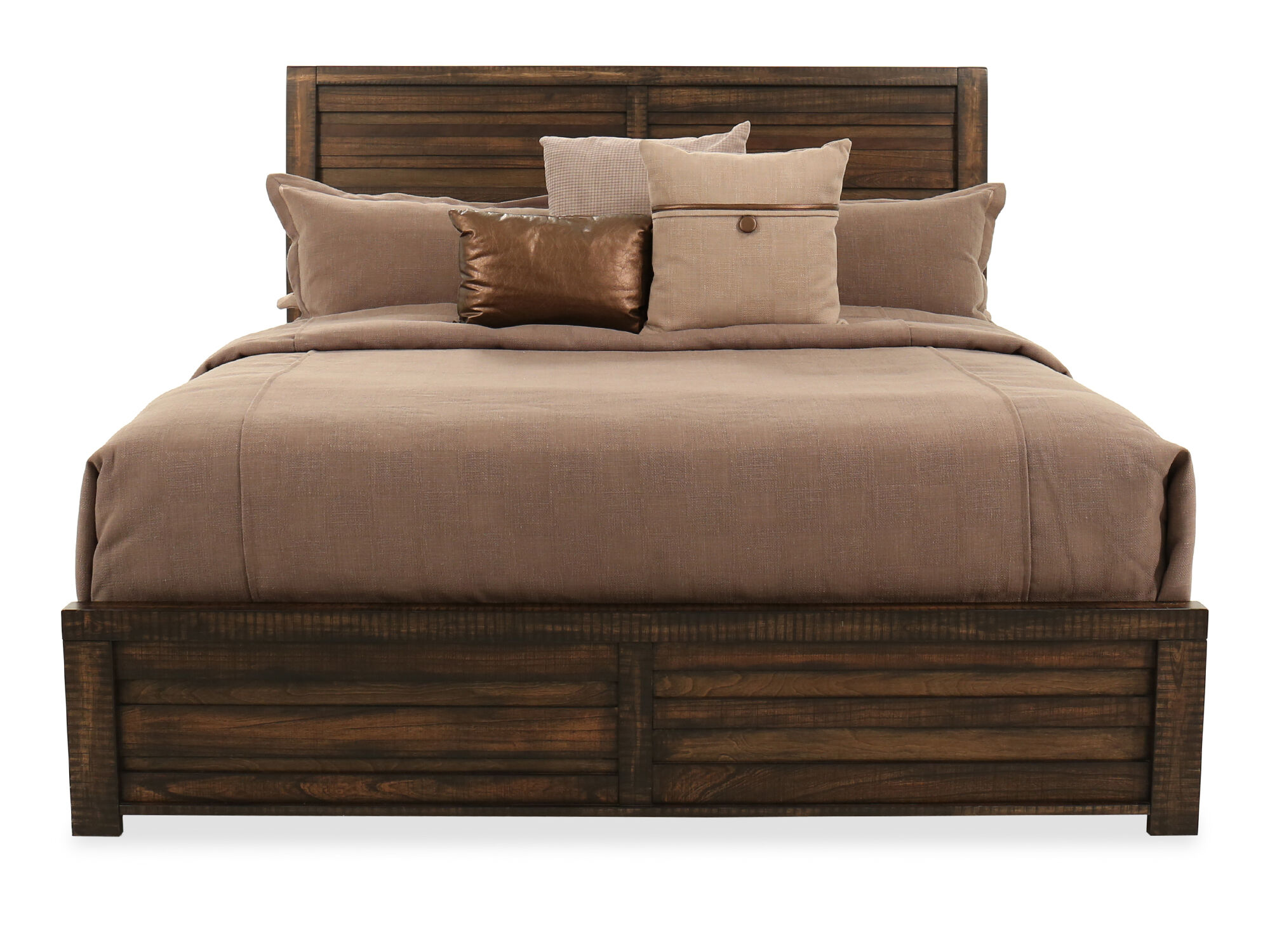 Incroyable Traditional Queen Sleigh Bed In Brown Tobacco ...