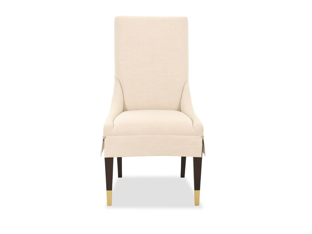 Contemporary Side Chair in Linen White