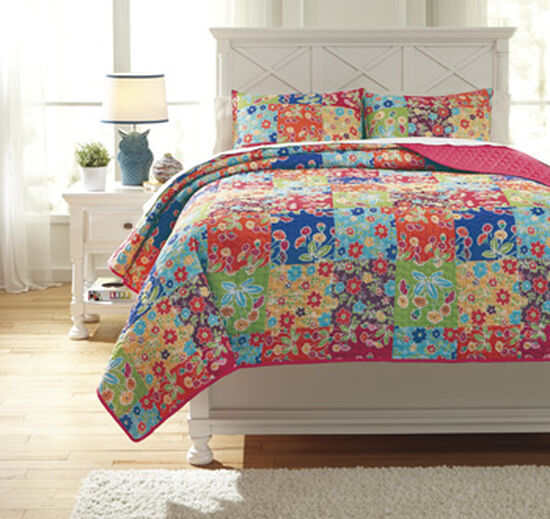 Three-Piece Casual Printed Patch Full Quilt Set