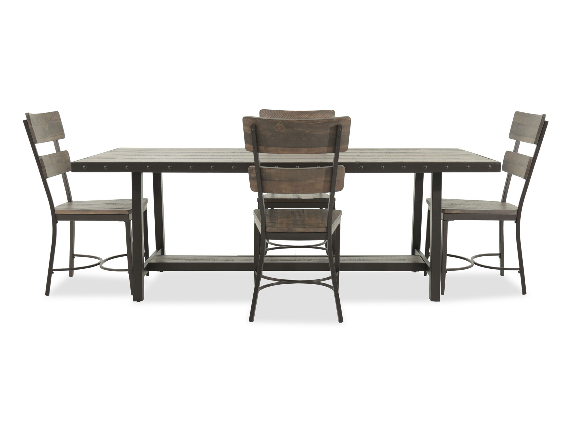Images Five Piece Rustic Farmhouse Dining Set In Dark Brown