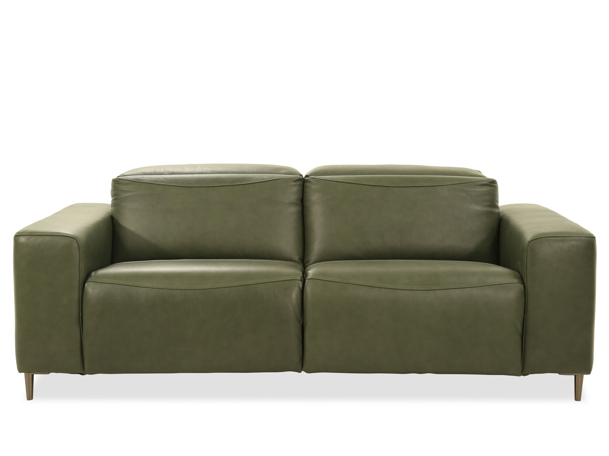 Power Reclining Leather Sofa in Green | Mathis Brothers ...